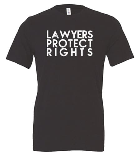 Lawyers Protect Rights T-Shirt Gray Front